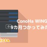 ConoHa WINGレンタルサーバーを9カ月使ってみた感想|メリット・デメリットも正直に紹介